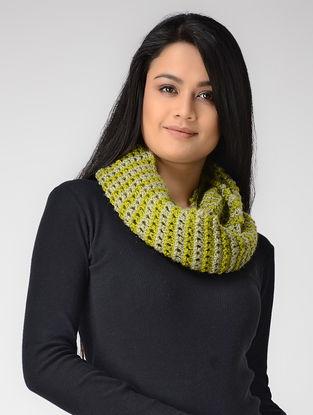 Green-Beige Hand-knitted Wool Loop