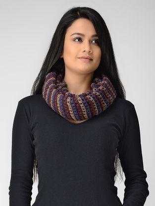 Blue-Maroon Hand-knitted Wool Loop
