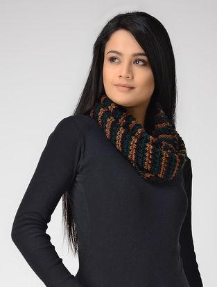 Green-Brown Hand-knitted Wool Loop