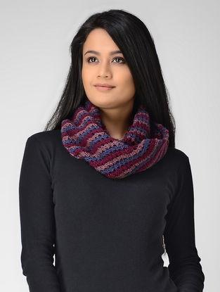Blue-Pink Hand-knitted Wool Loop