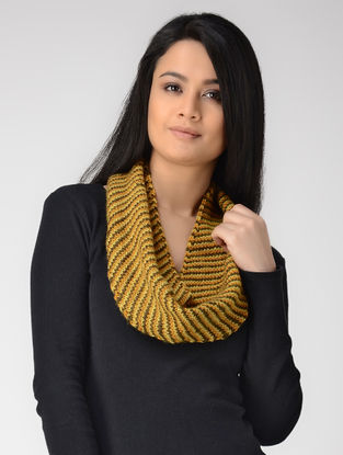 Yellow-Olive Hand-knitted Wool Neck Warmer