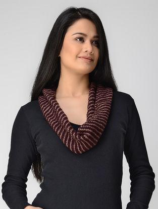 Maroon-Beige Hand-knitted Wool Neck Warmer