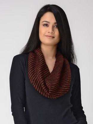 Beige-Red Hand-knitted Wool Neck Warmer