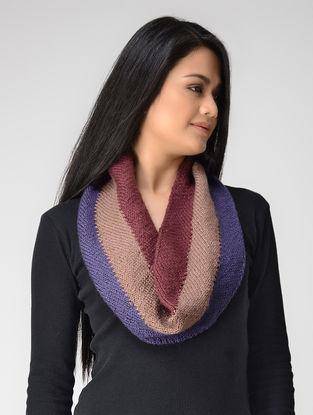Beige-Blue Hand-knitted Wool Neck Warmer