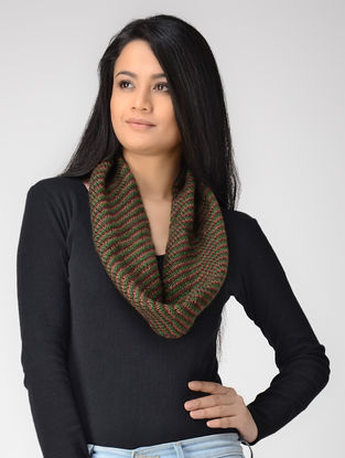 Green-Brown Hand-knitted Wool Neck Warmer