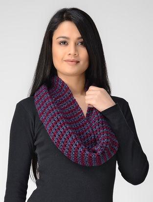 Blue-Magenta Hand-knitted Wool Neck Warmer