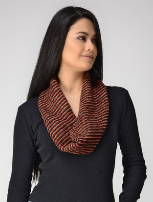 Peach-Red Hand-knitted Wool Neck Warmer