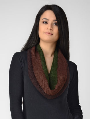Maroon-Green Hand-knitted Wool Neck Warmer