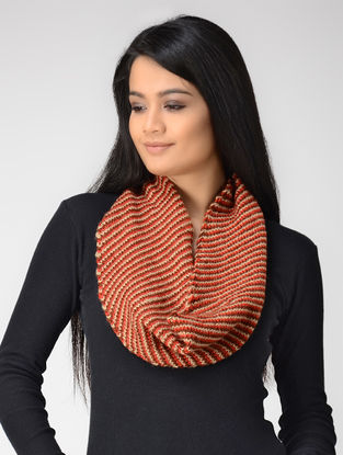 Red-Peach Hand-knitted Wool Neck Warmer