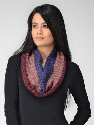 Blue-Peach Hand-knitted Wool Neck Warmer