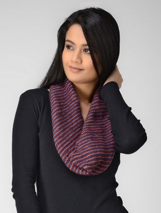 Blue-Pink Hand-knitted Wool Neck Warmer