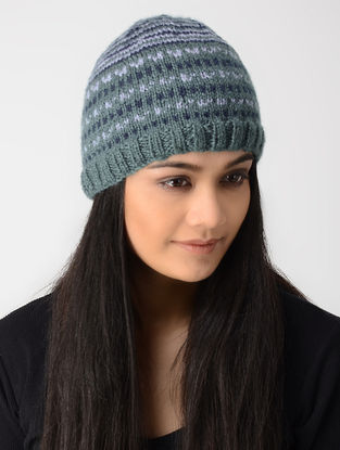 Grey-White Hand-knitted Wool Cap