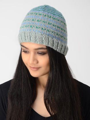 Grey-Blue Hand-knitted Wool Cap