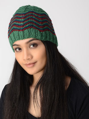 Green-Red Hand-knitted Wool Cap