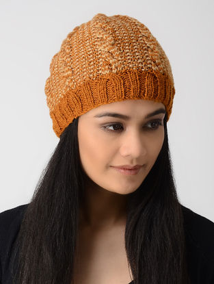 Orange-Peach Hand-knitted Wool Cap
