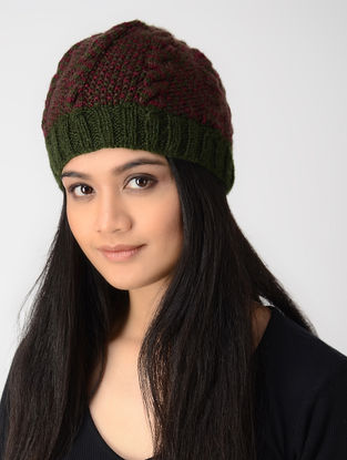 Green-Maroon Hand-knitted Wool Cap