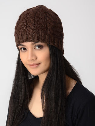 Maroon Hand-knitted Wool Cap