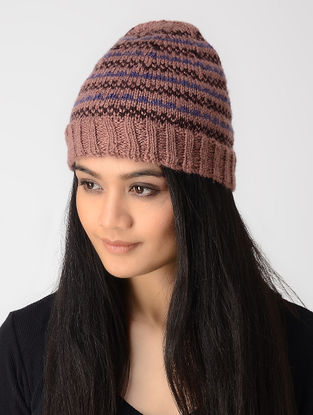 Mauve-Blue Hand-knitted Wool Cap