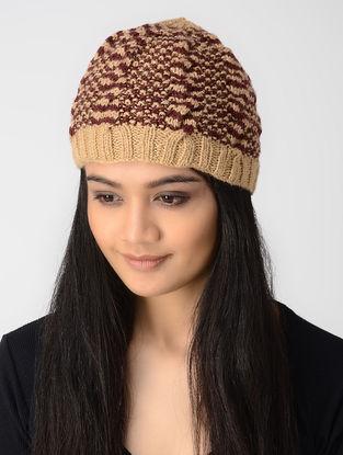 Peach-Maroon Hand-knitted Wool Cap