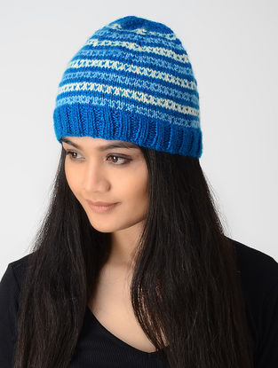 Blue-Ivory Hand-knitted Wool Cap