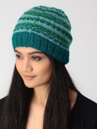 Blue-Green Hand-knitted Wool Cap