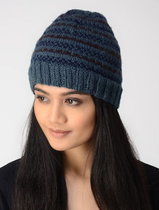Blue-Maroon Hand-knitted Wool Cap