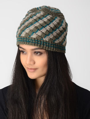 Olive-Beige Hand-knitted Wool Cap