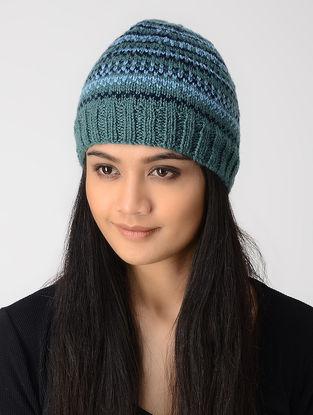 Green-Blue Hand-knitted Wool Cap
