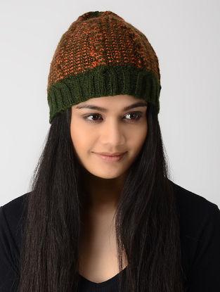 Green-Orange Hand-knitted Wool Cap