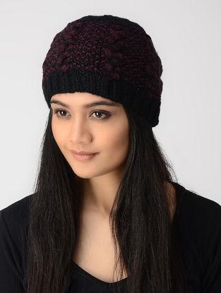 Black-Maroon Hand-knitted Wool Cap