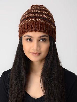 Brown-Beige Hand-knitted Wool Cap