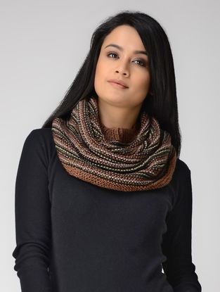 Brown-Black Hand-knitted Wool Cowl