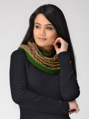 Beige-Green Hand-knitted Wool Cowl