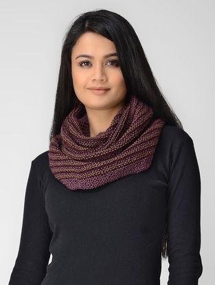 Purple-Beige Hand-knitted Wool Cowl