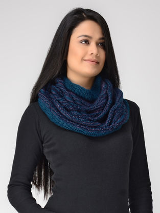 Blue Hand-knitted Wool Cowl