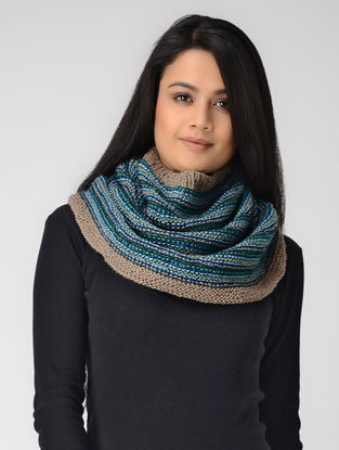Blue-Beige Hand-knitted Wool Cowl