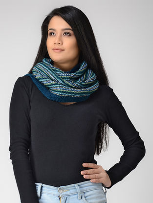 Blue-Ivory Hand-knitted Wool Cowl