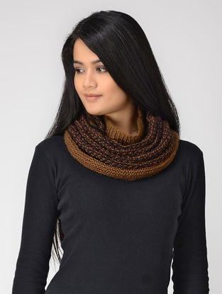 Beige-Brown Hand-knitted Wool Cowl
