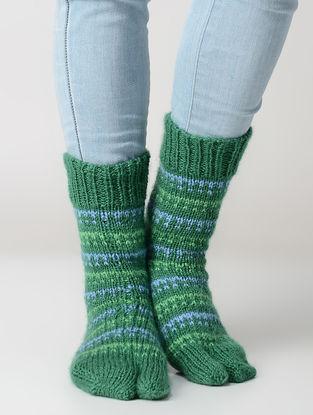 Green-Blue Hand-knitted Wool Socks