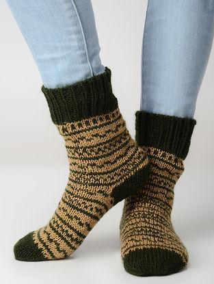 Beige-Green Hand-knitted Wool Socks