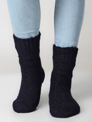 Black Hand-knitted Wool Socks