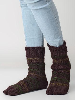 Maroon-Green Hand-knitted Wool Socks