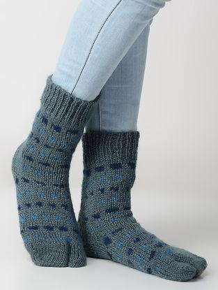 Grey-Blue Hand-knitted Wool Socks