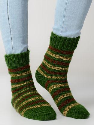 Green-Beige Hand-knitted Wool Socks