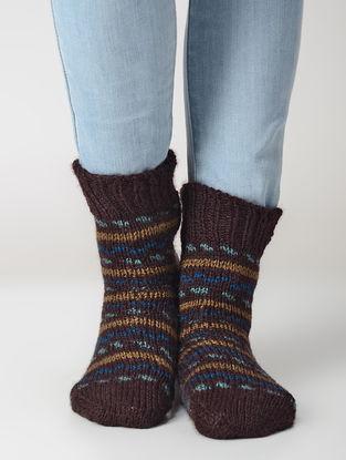 Brown-Beige Hand-knitted Wool Socks