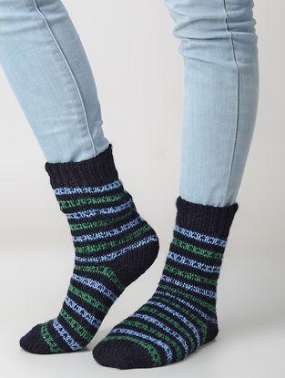 Black-Green Hand-knitted Wool Socks
