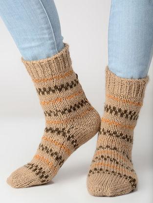 Beige-Olive Hand-knitted Wool Socks