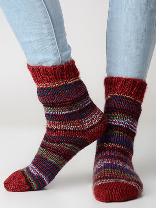 Red-Blue Hand-knitted Wool Socks