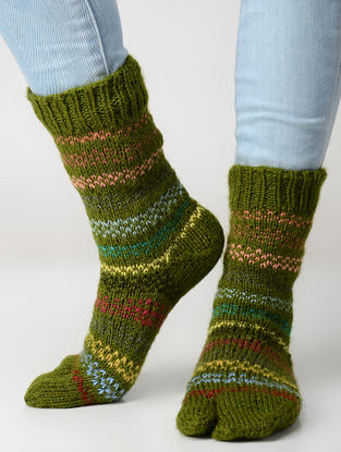 Green-Yellow Hand-knitted Wool Socks