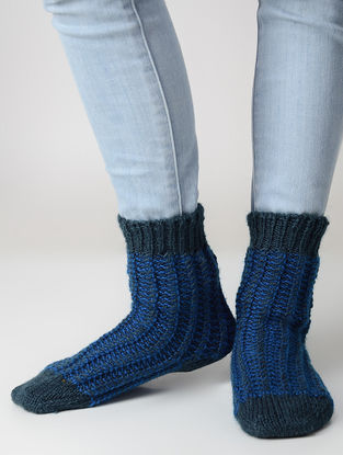Blue Hand-knitted Wool Socks